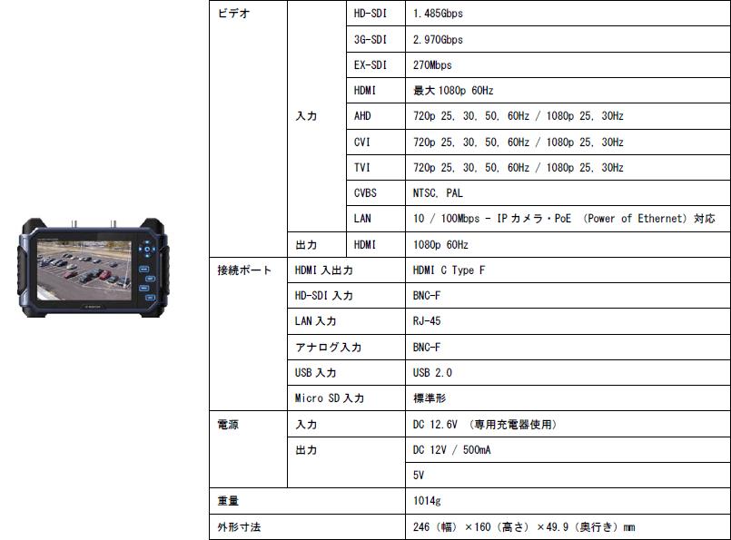 IP/HD-SDI/アナログHDタッチモニター/SC-IPM07HD 主な仕様