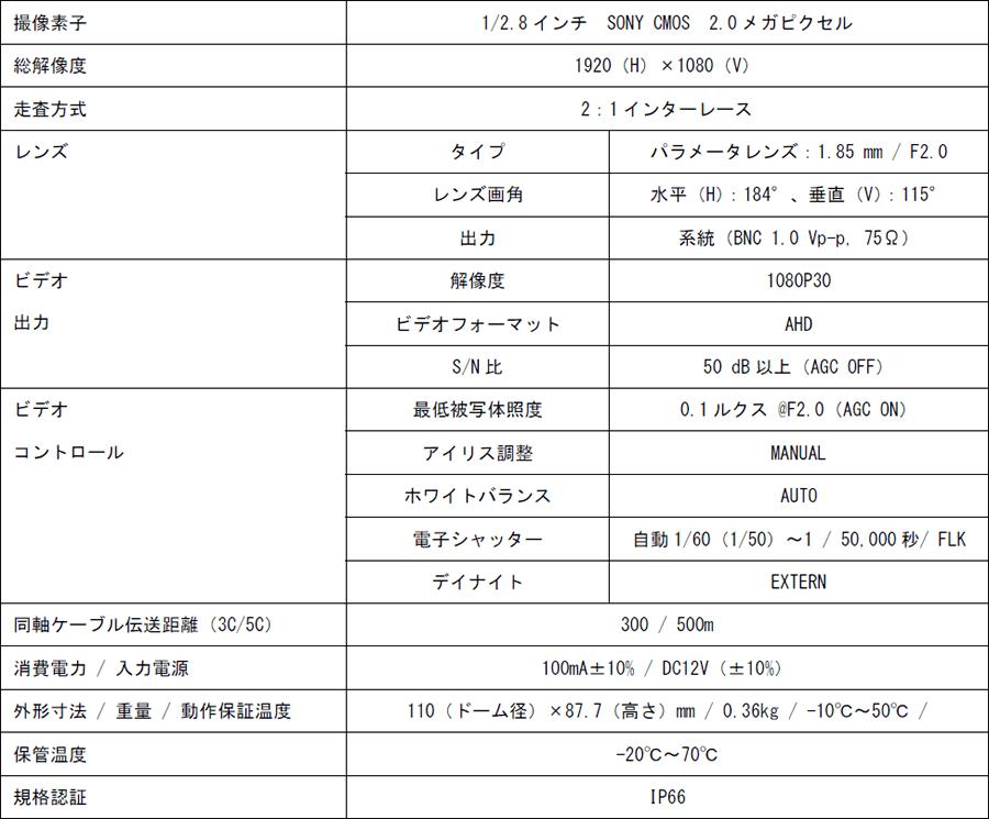 HS-180AHD 主な仕様