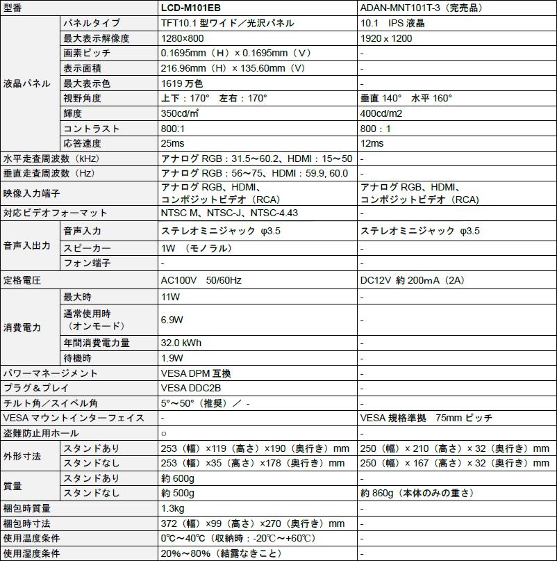 LCD-M101EB/ADAN-MNT101T-3 主な仕様